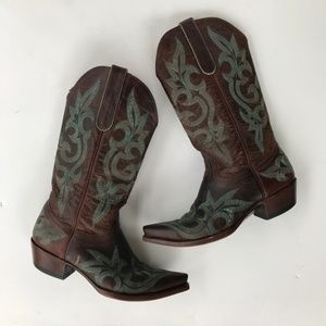 Old Gringo Women Cowboy Boots Brown Turquoise 9B